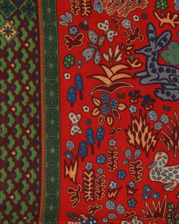 Scarf Red With A Green Blue Print