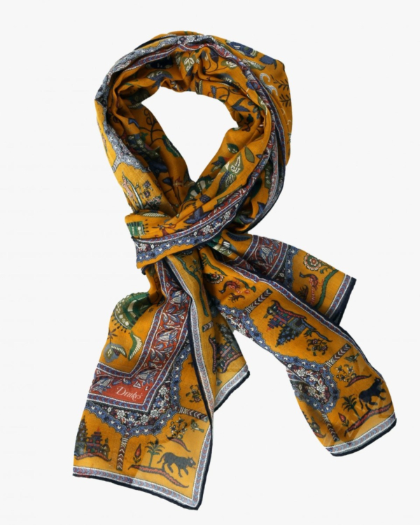 Scarf with yellow print