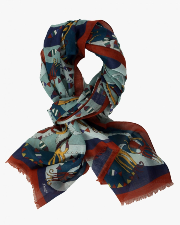Scarf Red/Blue  with print