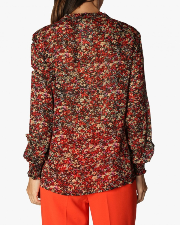 Blouse red flower print