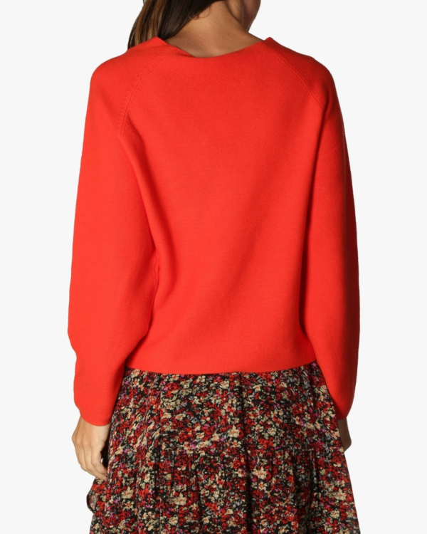 Cotton fine knit pullover red