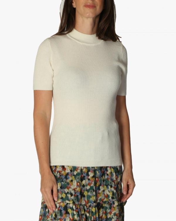 pullover korte mouw v-hals 1024 ecru